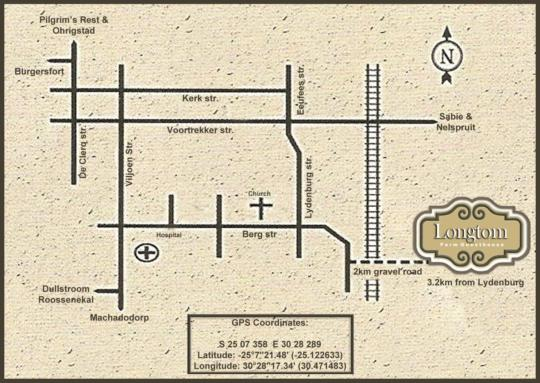 Map Longtom Farm Guesthouse in Lydenburg  Highlands  Mpumalanga  South Africa