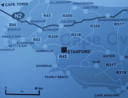 Map Stanford River Lodge in Stanford  Overberg  Western Cape  South Africa