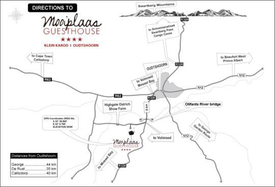 Map Mooiplaas Guest House in Oudtshoorn  Klein Karoo  Western Cape  South Africa