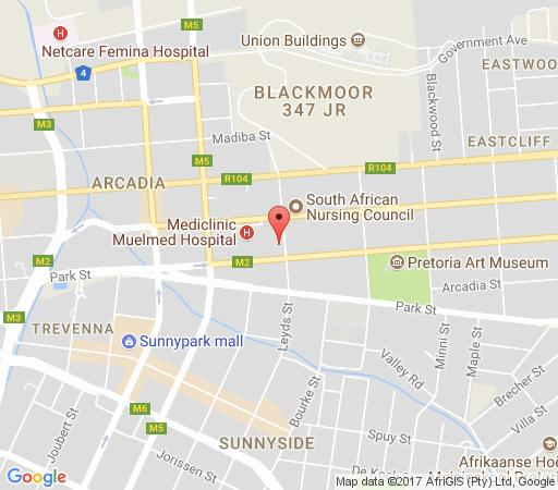 Map Hotel 224 in Arcadia  Pretoria Central  Pretoria / Tshwane  Gauteng  South Africa