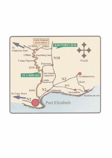 Map Addo Elephant Back Safaris & Lodge in Addo  Cacadu (Sarah Baartman)  Eastern Cape  South Africa