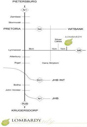 Map Lombardy Boutique Hotel in Tweefontein  Pretoria East  Pretoria / Tshwane  Gauteng  S�dafrika