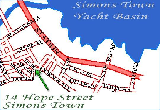 Map Rob Roy Guest House in Simon's Town  False Bay  Cape Town  Western Cape  South Africa
