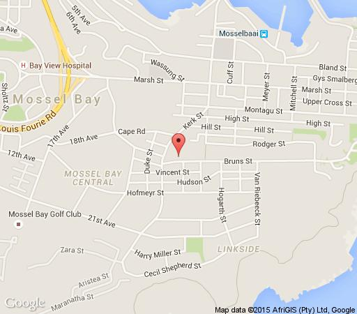 Map Bienvenue Self Catering in Mossel Bay  Garden Route  Western Cape  Afrique du Sud