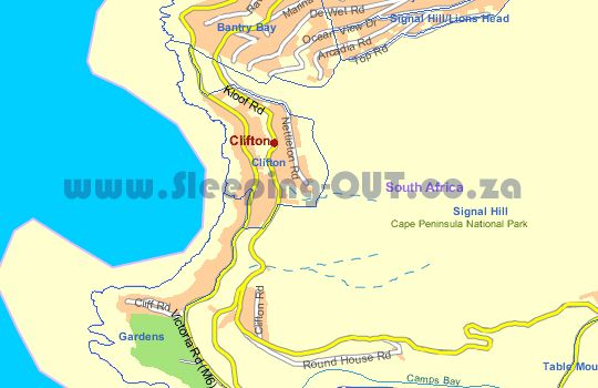 Map Beach Bungalow Self Catering in Clifton  Atlantic Seaboard  Cape Town  Western Cape  South Africa