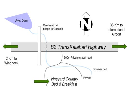 Map Vineyard Country B&B in Windhoek  Khomas  Namibia