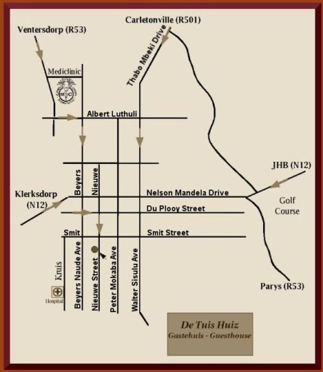 Map De Tuiz Huis Guest House in Potchefstroom  Southern (NW)  North West  South Africa