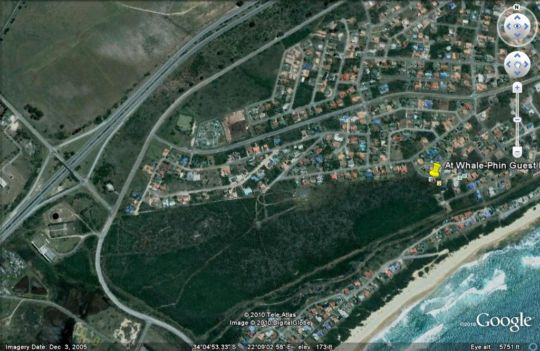 Map Whale-Phin Guest House in Mossel Bay  Garden Route  Western Cape  South Africa