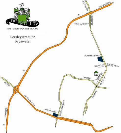 Map De Witt\'e Guesthouse in Bloemfontein  Mangaung  Free State  South Africa