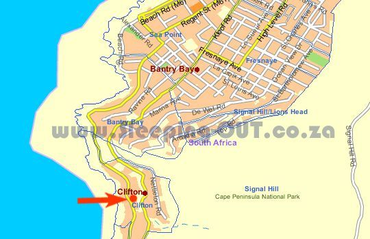 Map 206 First Beach  in Clifton  Atlantic Seaboard  Cape Town  Western Cape  South Africa
