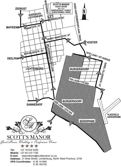 Map Scott\'s Manor Guest House in Lichtenburg  Central (NW)  North West  South Africa