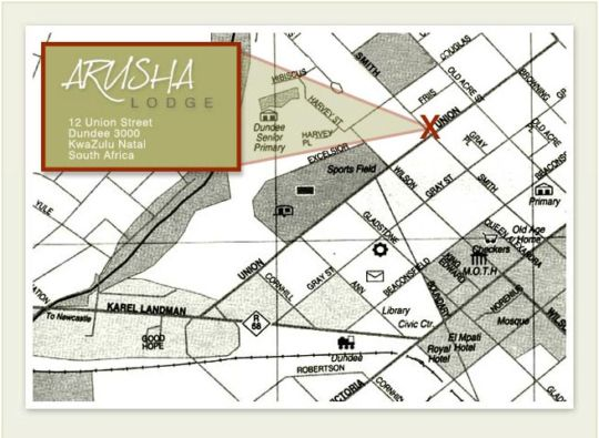 Map Arusha Lodge in Dundee  Battlefields  KwaZulu Natal  Suid-Afrika