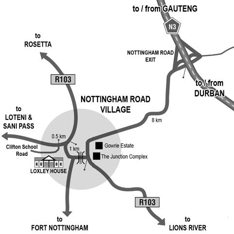 Map Loxley House in Nottingham Road  Midlands  KwaZulu Natal  South Africa
