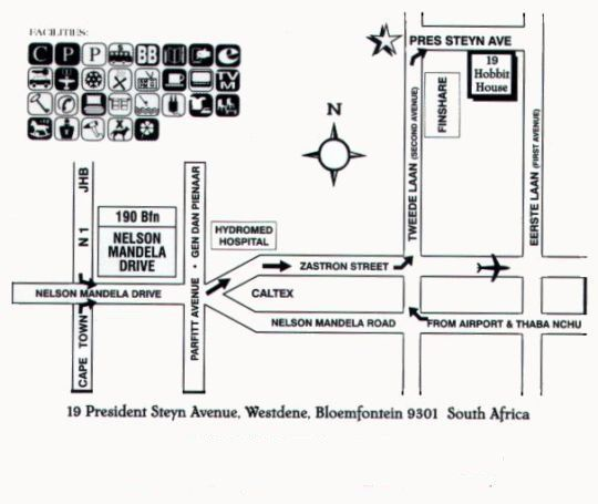 Map Hobbit Boutique Hotel in Bloemfontein  Mangaung  Free State  South Africa
