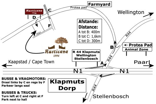 Map Rusticana Hospitality Estate in Paarl  Cape Winelands  Western Cape  South Africa