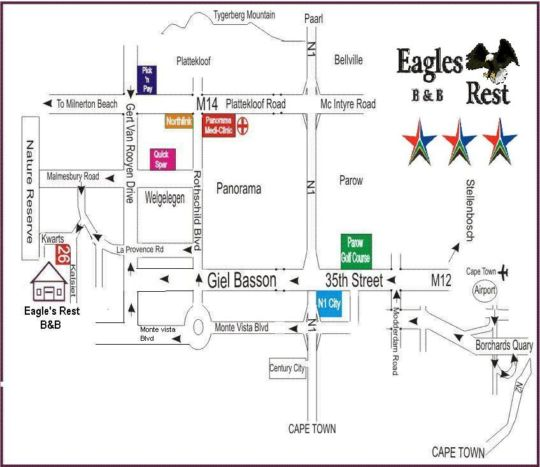 Map Eagles Rest B&B/Self Catering in Parow  Northern Suburbs (CPT)  Cape Town  Western Cape  South Africa