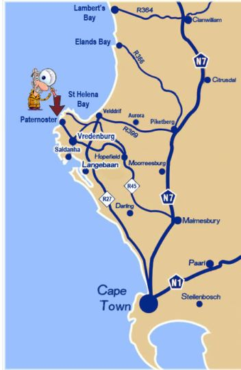 Map Lazy Lodge in Paternoster  West Coast (WC)  Western Cape  South Africa