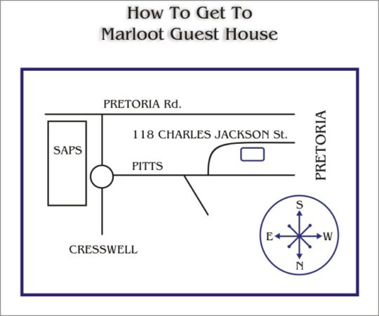 Map Marloot Guesthouse in Silverton  Pretoria East  Pretoria / Tshwane  Gauteng  South Africa