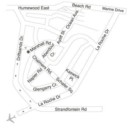 Map Aristotle Guesthouse in Humewood  Port Elizabeth  Cacadu (Sarah Baartman)  Eastern Cape  South Africa