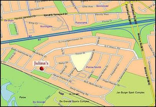 Map Julina\'s Guesthouse in Parow  Northern Suburbs (CPT)  Cape Town  Western Cape  South Africa