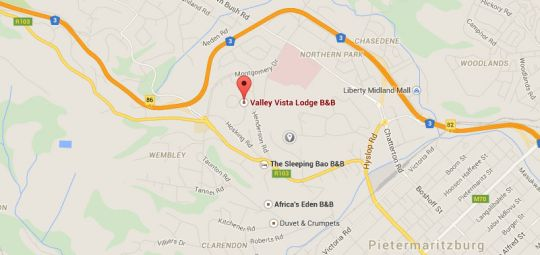 Map Valley Vista Lodge in Athlone (PMB)  Pietermaritzburg  Midlands  KwaZulu Natal  South Africa