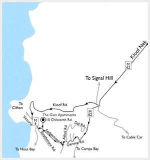 Map The Glen Apartments in Camps Bay  Atlantic Seaboard  Cape Town  Western Cape  South Africa