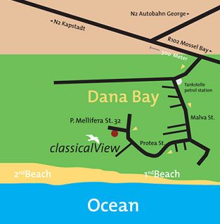 Map classicalView in Mossel Bay  Garden Route  Western Cape  South Africa