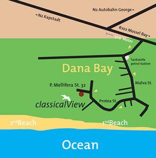 Map classicalView in Mossel Bay  Garden Route  Western Cape  Südafrika