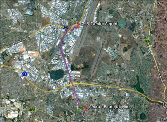 Map Afrique Boutique Hotel O.R Tambo in Boksburg  Ekurhuleni (East Rand)  Gauteng  South Africa