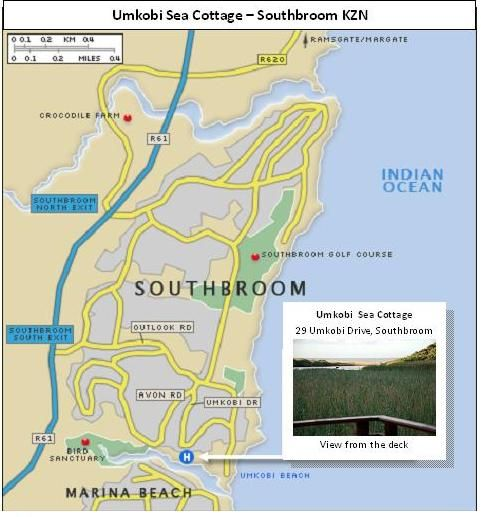 Map Umkobi Sea Cottage in Southbroom  South Coast (KZN)  KwaZulu Natal  South Africa