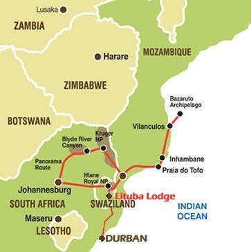 Map Lituba Lodge in Siphofaneni  Lubombo  Swaziland