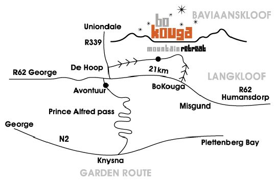 Map Bo Kouga Mountain Retreat in Uniondale  Klein Karoo  Western Cape  South Africa