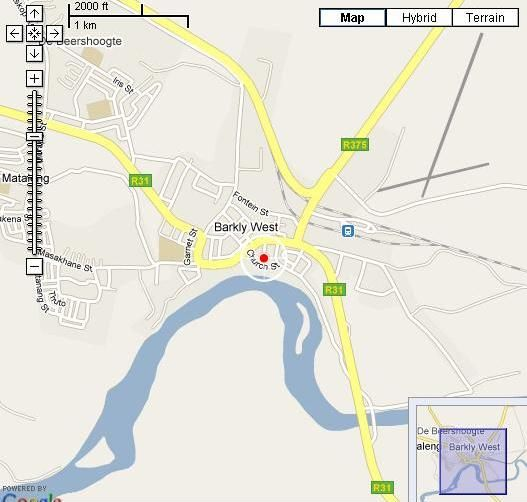Map Rooftop B&B in Barkly West  Diamond Fields  Northern Cape  South Africa