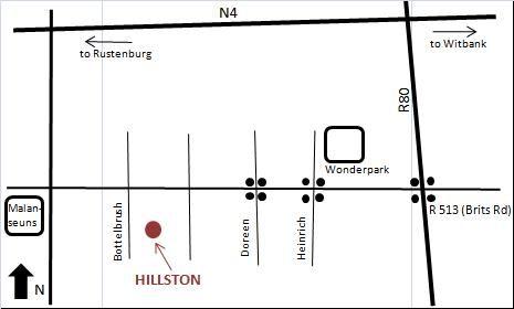 Map Hillston Guesthouse in Amandasig  Pretoria North  Pretoria / Tshwane  Gauteng  South Africa