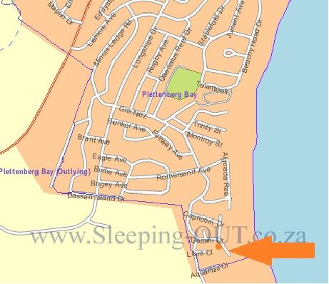 Map Sea Breeze Beach House in Plettenberg Bay  Garden Route  Western Cape  South Africa