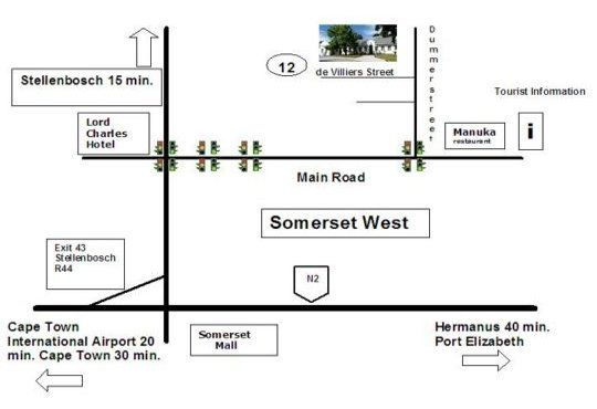 Map KaapsePracht Bed & Breakfast in Somerset West  Helderberg  Western Cape  South Africa