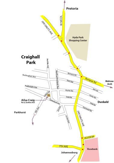 Map Ailsa Craig in Craighall Park  Northcliff/Rosebank  Johannesburg  Gauteng  South Africa