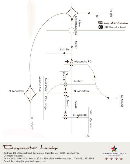 Map Bayswater Lodge in Bloemfontein  Mangaung  Free State  South Africa