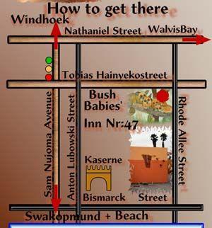 Map Bushbabies Inn in Swakopmund  Erongo  Namibia