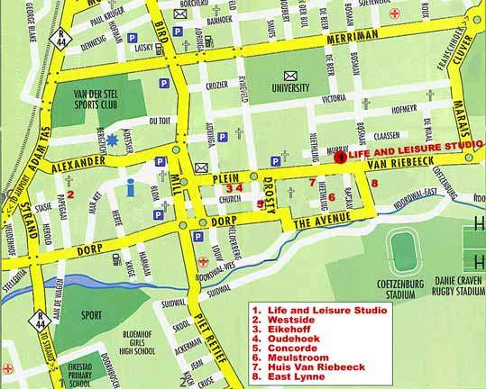 Map Life and Leisure Guesthouse in Stellenbosch  Cape Winelands  Western Cape  South Africa
