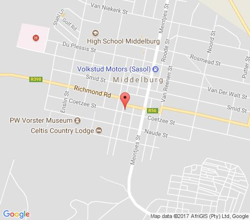 Map The Stables B&B in Middelburg (EC)  Stormberg District  Eastern Cape  South Africa