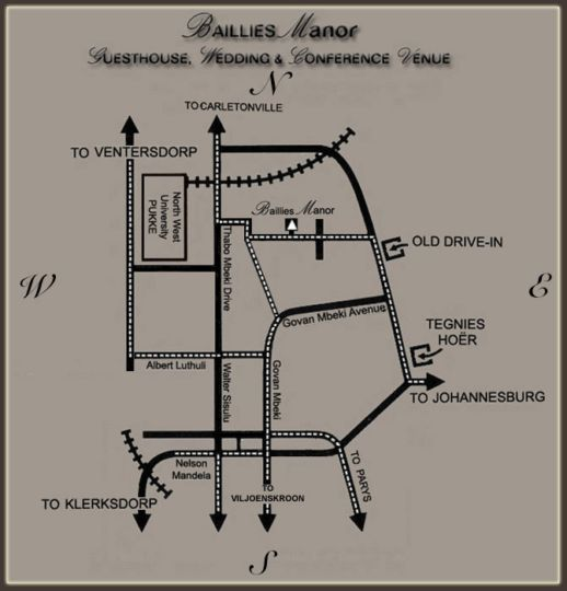 Map Baillies Manor Guest House  in Potchefstroom  Southern (NW)  North West  South Africa