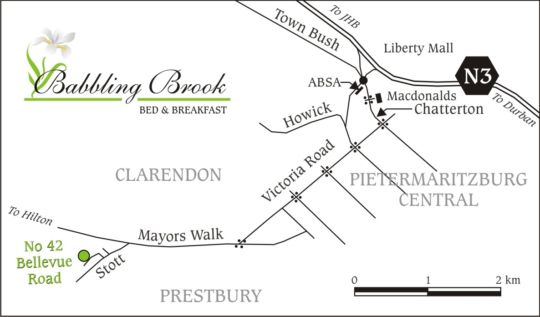 Map Babbling Brook B&B in Pietermaritzburg Central  Pietermaritzburg  Midlands  KwaZulu Natal  South Africa