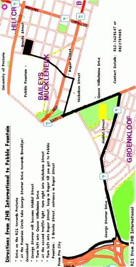Map Pebble Fountain Guest House in Brooklyn (PTA)  Pretoria Central  Pretoria / Tshwane  Gauteng  South Africa