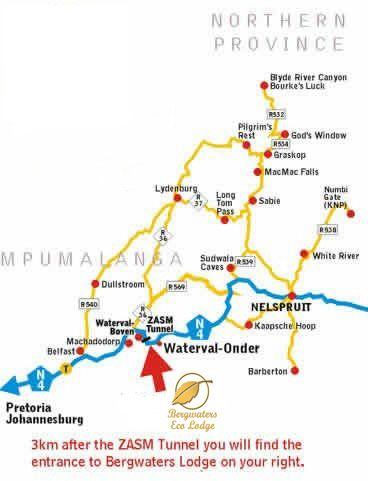 Map Bergwaters Eco Lodge & Spa in Waterval Boven  Highlands  Mpumalanga  South Africa