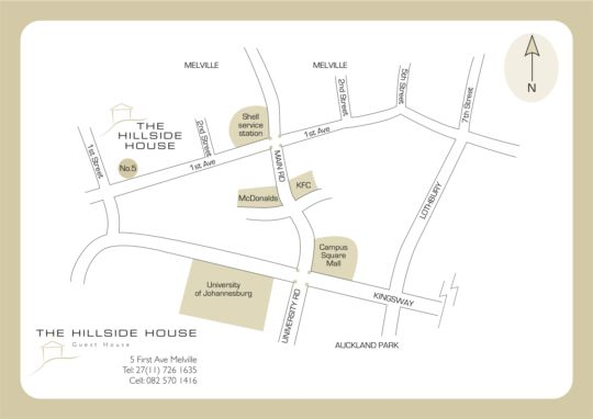 Map The Hillside House in Melville (JHB)  Northcliff/Rosebank  Johannesburg  Gauteng  South Africa