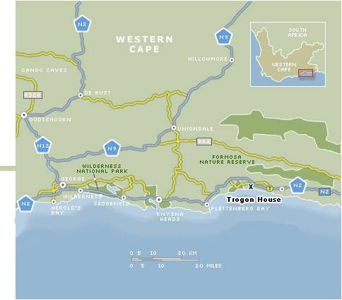 Map Trogon House & Forest spa in Plettenberg Bay  Garden Route  Western Cape  South Africa