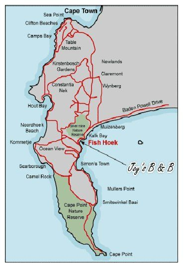 Map Joy\'s Self Catering and B&B in Fish Hoek  False Bay  Cape Town  Western Cape  South Africa