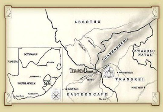 Map Tenahead Mountain Lodge and Spa in Rhodes  Drakensberg (EC)  Eastern Cape  South Africa