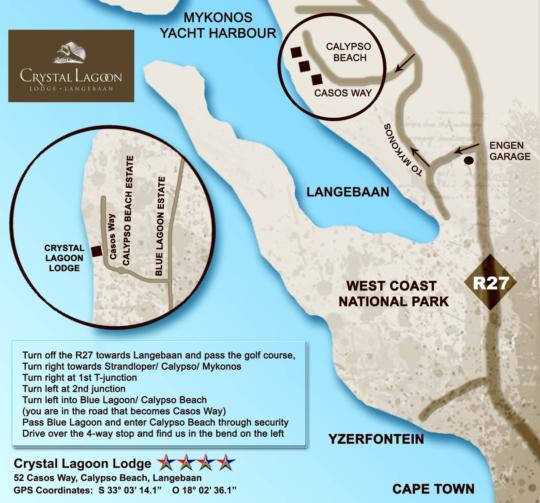 Map Crystal Lagoon Lodge in Langebaan  West Coast (WC)  Western Cape  South Africa